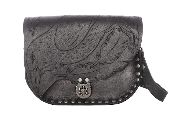 4aad21722812 Raven bag black leather crossbody bag Raven purse