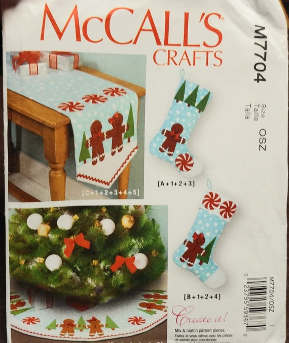 McCall Patterns M7704OSZ Stockings and Tree Skirt Holiday Decorations Runner