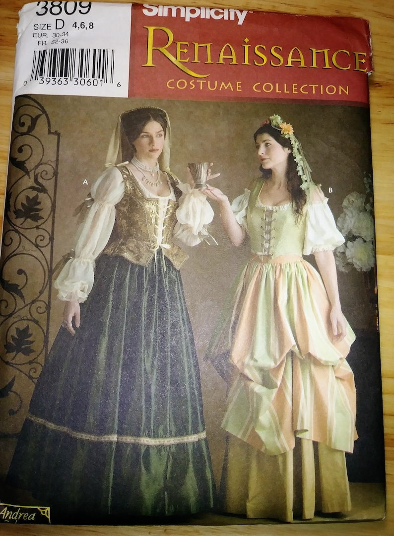 Simplicity Sewing Pattern 3809 Historical Renaissance Costumes, Size D 4,6,8