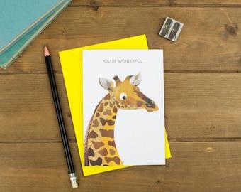 You're Wonderful - Giraffe Greetings Card