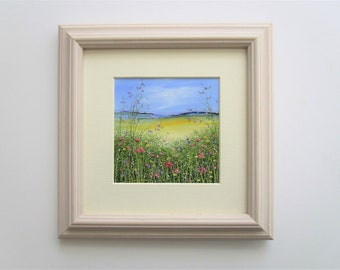 Original Oil Painting Landscape Flowers 3.75 x 3.75 with 6x6 Frame/Mount .Wildflowers by Sandie Coe