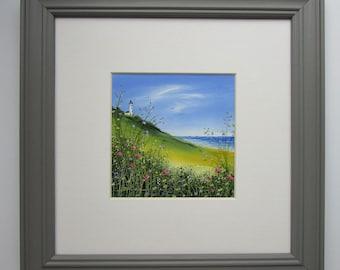 "Original Oil Painting ""Lighthouse"" 4x4 . 8x8 Frame Sandie Coe"