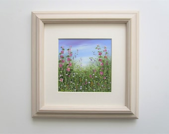 Original Oil Painting Landscape Flowers 3.75 x 3.75 with 6x6 Frame/Mount .Hollyhocks by Sandie Coe