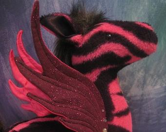 Pink Pegasus Zebra Plush
