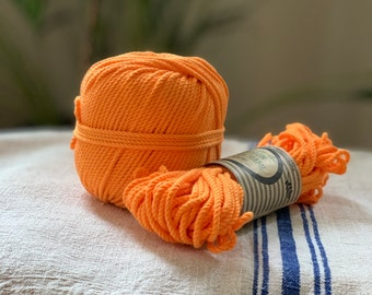 Cotton rope, cotton cord, Macrame cord, Macrame cotton cord, cord, 3 mm macrame cord, cotton macrame 3 ply twisted ,  ORANGE FLUO