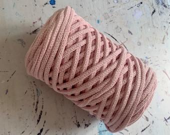 Braidy recycling yarn, 213,2 ft (65 m),  4 mm, PINK, macrame cotton,  4 mm, cotton rope