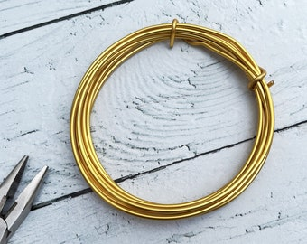 Aluminium wire, extrem shapeable 2 mm  - 22 g, 2 m,  flower wire, gold wire for jewel, jewelry's wire