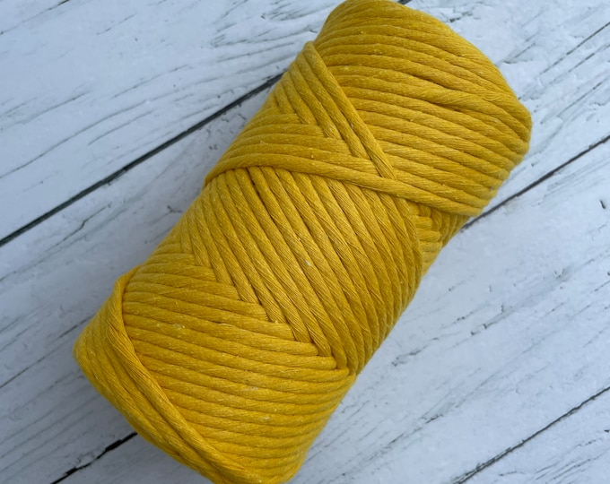 Macrame cotton string, 246ft (75 m),  3 mm, MIMOSA, macrame cotton, indigo raw single twist 3 mm, cotton rope