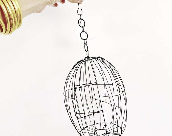 Wire bird cage, Wire cage, unique piece , handmade in france, wire sculpture