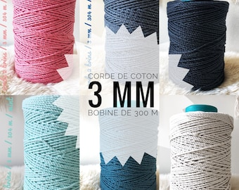 macrame cotton 3 mm 2-ply twisted  rope / macrame rope / twisted cotton 1000 feet ( 304 meters)