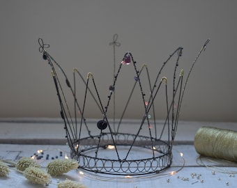 wire crown with beads. handmade in france.