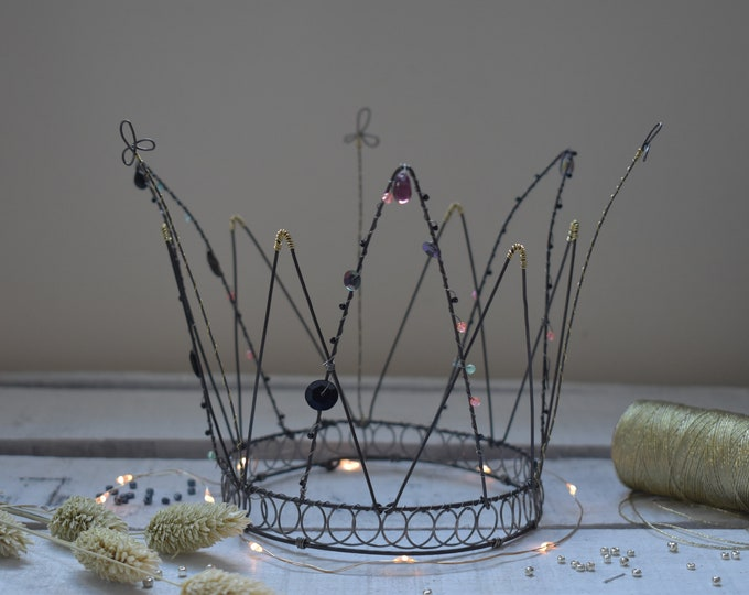 Featured listing image: wire crown with beads. handmade in france.