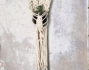 Wall hanging planter in macrame,  tie & dye, and vintage glass