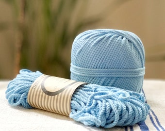 Cotton rope, cotton cord, Macrame cord, Macrame cotton cord, cord, 3 mm macrame cord, cotton macrame 3 ply twisted ,  LIGHT BLUE