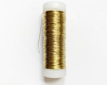 Brass  wire 0,30 mm, floral art, jewelry wire, 80 m. golden wire, godl wire