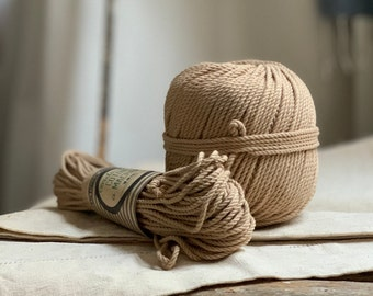 Cotton rope, cotton cord, Macrame cord, Macrame cotton cord, cord, 3 mm macrame cord, cotton macrame 3 ply twisted ,  COFFEE CREAM