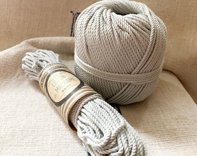 Cotton rope, cotton cord, Macrame cord, Macrame cotton cord, cord, 3 mm macrame cord, cotton macrame 3 ply twisted , PEARL GREY