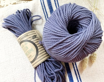 Cotton rope, cotton cord, Macrame cord, Macrame cotton cord, cord, 3 mm macrame cord, cotton macrame 3 ply twisted , BLUE GREY
