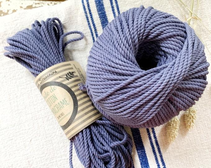 Cotton rope, cotton cord, Macrame cord, Macrame cotton cord, cord, 3 mm macrame cord, cotton macrame 3 ply twisted , BLUE GREY
