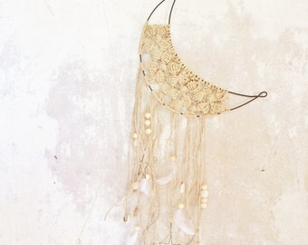 Moon dream catcher in wire and macrame , boho style, wall hanging  made to order in france
