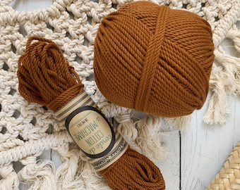 Cotton rope, cotton cord, Macrame cord, Macrame cotton cord, cord, 3 mm macrame cord, cotton macrame 3 ply twisted , FOXY BROWN