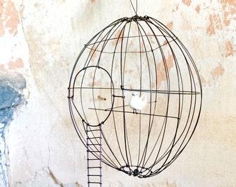 Wire bird cage, Wire cage, round cage, unique piece , handmade in france, wire sculpture