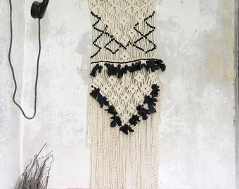 Wall hanging macrame black and white .