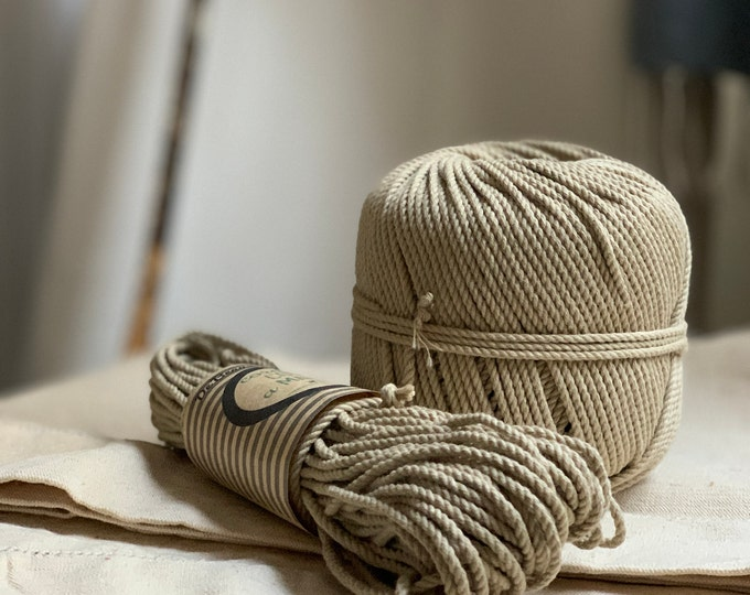 Cotton rope, cotton cord, Macrame cord, Macrame cotton cord, cord, 3 mm macrame cord, cotton macrame 3 ply twisted ,  LINEN