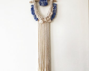 Original and Unique Design . Wall hanging macrame, white and indigo. Unique item.