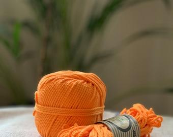 Cotton rope, cotton cord, Macrame cord, Macrame cotton cord, cord, 3 mm macrame cord, cotton macrame 3 ply twisted ,  ORANGE MANDARINE