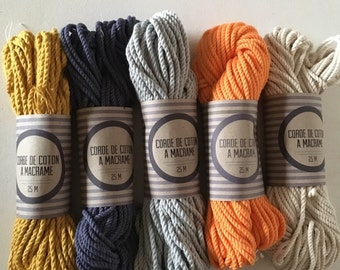 Macrame cotton cord, 100 ft (30 m),  3 mm, beautiful quality made in france, macrame cord. 3 ply twisted cotton rope for macramé