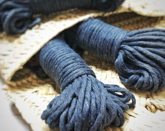 Macrame cotton string, 98 ft (30 m), 5 mm, macrame cotton, INDIGO raw single twist 5 mm, cotton rope