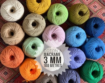 cotton rope for macrame , cotton cord, around 100 m ( 320 ft) diameter 3mm ( 9 ga) 3 ply twisted rope, made in france, colored cord