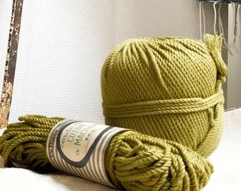 Cotton rope, cotton cord, Macrame cord, Macrame cotton cord, cord, 3 mm macrame cord, cotton macrame 3 ply twisted ,   GREEN KHAKI