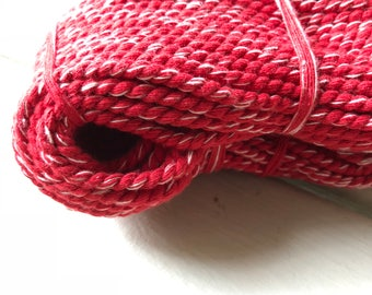 Macrame cotton cord / red and white cord/ 3 mm / 65 ft ( 20 m) / 2 ply / red cord / cotton rope / macrame cord/ macrame cord 3 mm