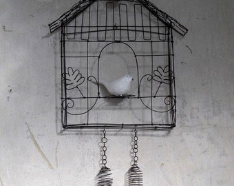 Wire art; wire sculpture, wire cuckoo, handmade in france - Made to order