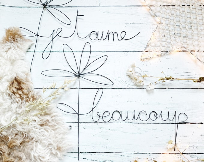 Wire daisy with the message  je t 'aime, un peu, beaucoup, passionnément, wire word, wire sculpture, wire message