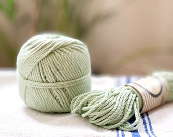 Cotton rope, cotton cord, Macrame cord, Macrame cotton cord, cord, 3 mm macrame cord, cotton macrame 3 ply twisted ,  GREEN MINT