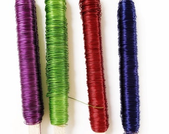Colored wire, florist wire 0.55 mm  - 100 g,  flower wire, wire for jewel, jewelry's wire, blue , green, purple, red wire .
