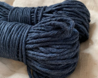 Macrame cotton string, 164 ft (50 m),  3 mm, INDIGO, macrame cotton, indigo raw single twist 3 mm, cotton rope