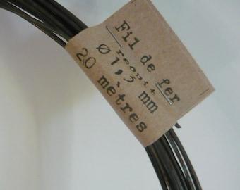 Steel black  wire, annealed wire,  diameter 1.3 mm ( ga 18)  - 20 m ( 65,6 ft) or 40 m