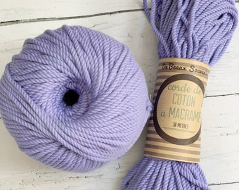 Cotton rope, cotton cord, Macrame cord, Macrame cotton cord, cord, 3 mm macrame cord, cotton macrame 3 ply twisted , LILAC