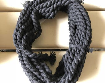 COTTON CORD 10 meters x 6 mm diameter BLACK