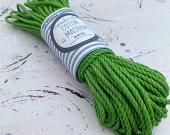 Cotton rope, cotton cord, Macrame cord, Macrame cotton cord, cord, 3 mm macrame cord, cotton macrame 3 ply twisted ,  VERT SAUGE