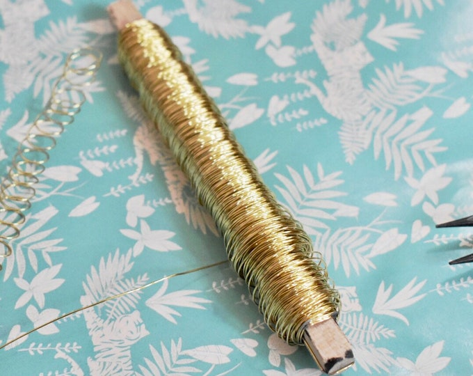 golden wire, gold florist's wire 0.55 mm  - 100 g,  flower wire, gold wire for jewel, jewelry's wire