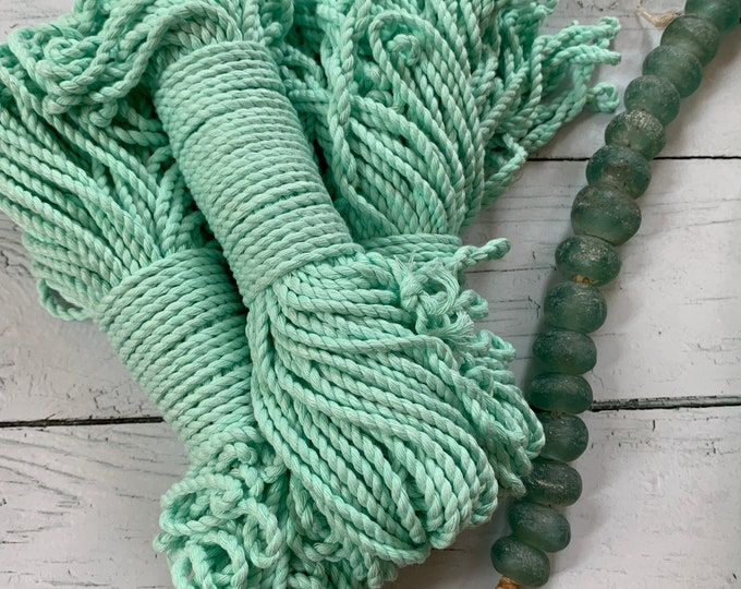 macrame cotton 3 mm 2-ply twisted  rope ANISE GREEN  / macrame rope / twisted cotton 98  feet ( 30 meters), macrame cotton cord