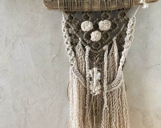 Wall hanging macrame, linen cord and cotton. Unique item.