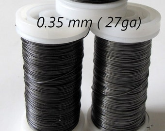 steel grey wire, or florist's wire, slimy wire , annealed diameter 0.35 mm ( ga 27) for your own creation - 100 meters ( 328 ft )