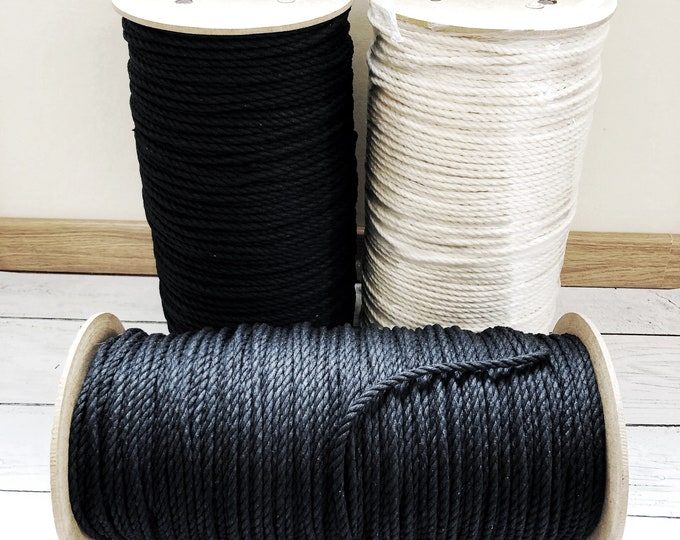 Macrame cotton cord/ 1000 ft (304 m)  / 6 mm / 3 ply / black cord or Natural cord / cotton rope / macrame cord/ macrame cord 6 mm