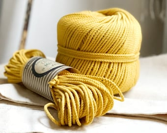 Cotton rope, cotton cord, Macrame cord, Macrame cotton cord, cord, 3 mm macrame cord, cotton macrame 3 ply twisted ,  YELLOW